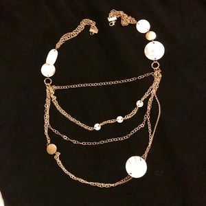 Gold and Shell Long Necklace